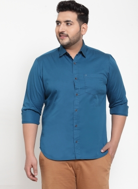 Men Teal Blue Regular Fit Solid Casual Shirt