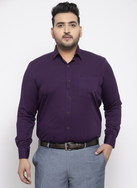 Men Purple Regular Fit Solid Formal Shirt