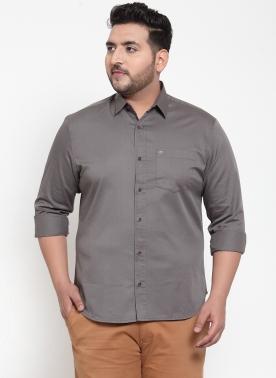 Men Grey Regular Fit Solid Casual Shirt