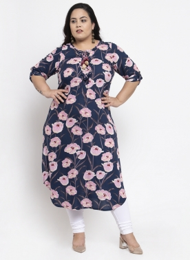 Women Navy Blue Printed Straight Kurta