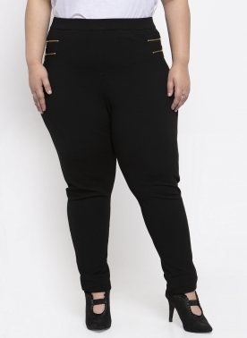 Women Black Solid Slim-Fit Treggings