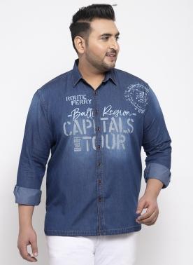Men Blue Regular Fit Printed Casual Shirt