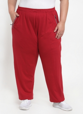 Women Red Solid Straight-Fit Track Pants