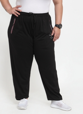 Women Black Solid Straight-Fit Track Pants