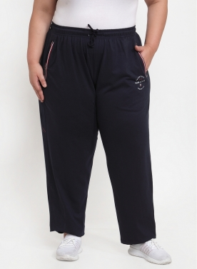 Women Navy Blue Solid Track Pants