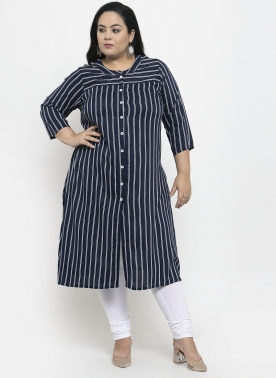 Women Navy & White Striped Straight Kurta