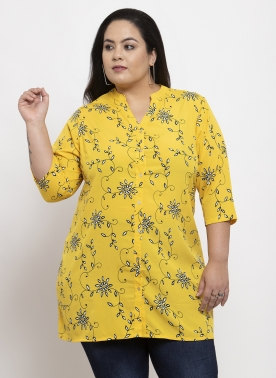 Women Black & Yellow Printed Tunic