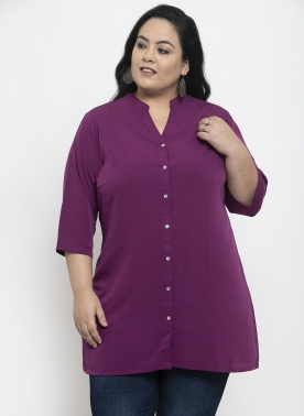 Women Purple Solid Floral Tunic