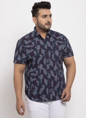 Men Navy Blue & White Regular Fit Printed Casual Shirt