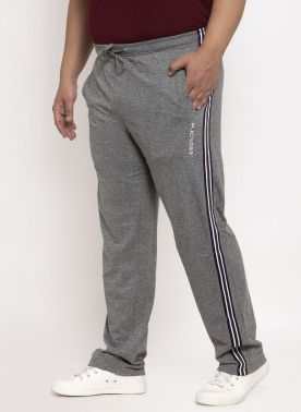 Grey Solid Straight-Fit Trackpants