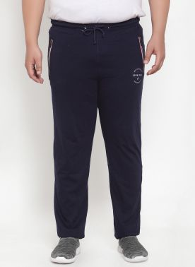 Men Navy Blue Solid Straight-Fit Track Pants
