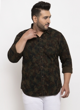 Men Brown & Green Regular Fit Camouflage Printed Casual Shirt