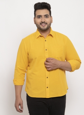 Men Mustard Comfort Regular Fit Casual  Shirt