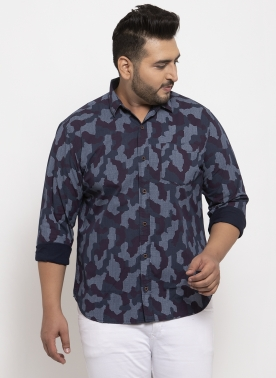 Men Navy Blue & White Regular Fit Printed Casual Shirt