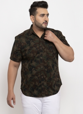 Men Olive Green Regular Fit Printed Casual Shirt