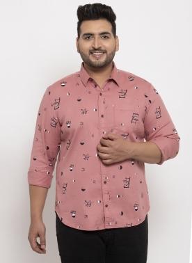 Men Maroon Regular Fit Printed Casual Shirt