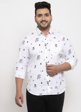 Men White & Beige Regular Fit Printed Casual Shirt