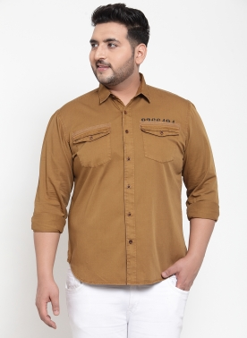 Men Khaki Regular Fit Solid Casual Shirt
