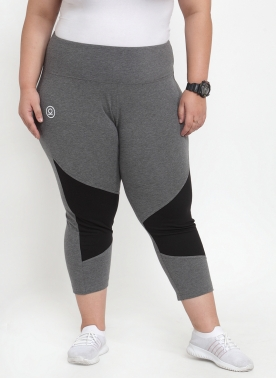 Women Grey & Black Colourblocked Skinny Fit Capris