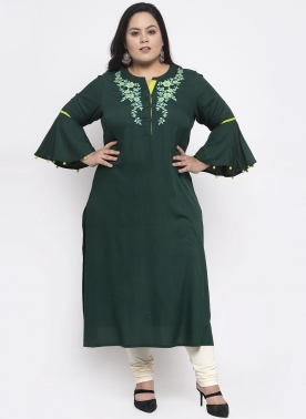 Women Green Yoke Design Straight Kurta