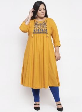 Women Mustard Yellow Yoke Design A-Line Kurta
