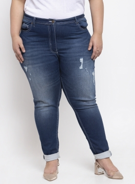 Women Blue Regular Fit Mid-Rise Low Distress Stretchable Jeans