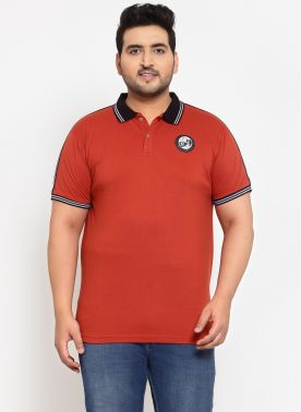 Men Rust Solid Polo Collar T-shirt