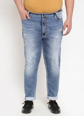 Men Blue Regular Fit Mid-Rise Mildly Distressed Jeans