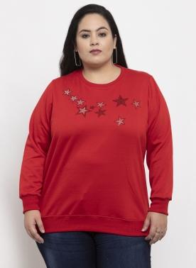 Women Maroon & Pink Printed Sweatshirt