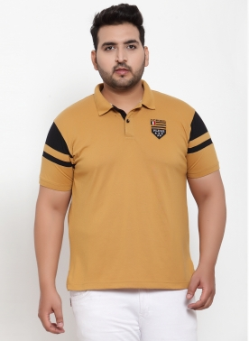 MEN MUSTARD SOLID POLO COLLAR T-SHIRT