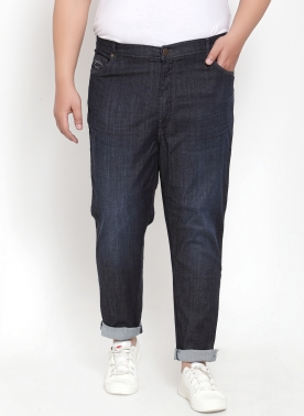 BLUE REGULAR FIT MID-RISE CLEAN LOOK JEANS