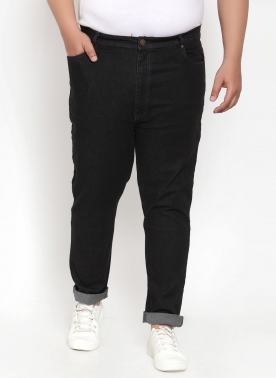 BLACK REGULAR FIT MID-RISE CLEAN LOOK JEANS