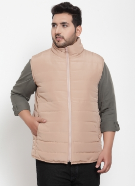 PLUSS MEN BEIGE SOLID QUILTED JACKET