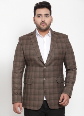 Brown Checked Slim-Fit Single-Breasted Blazer