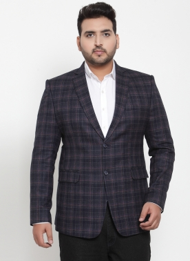 Anthra Checked Tailored-Fit Single-Breasted Blazer
