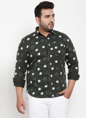 Men Green Comfort Regular Fit Printed Casual Shirt
