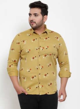 Men White & Yellow Regular Fit Printed Casual Shirt