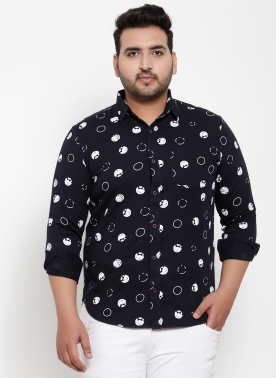 Men Navy Blue Regular Fit Printed Casual Shirt