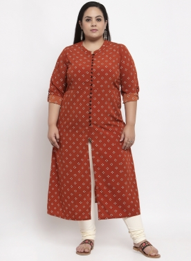 Women Red & Pink Printed Straight Kurta