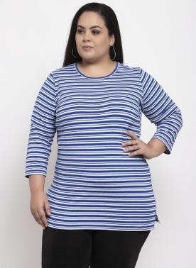 Women Blue & White Printed Round Neck T-shirt