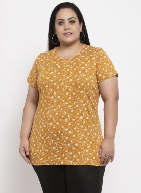 Women Mustard Printed Round Neck T-shirt