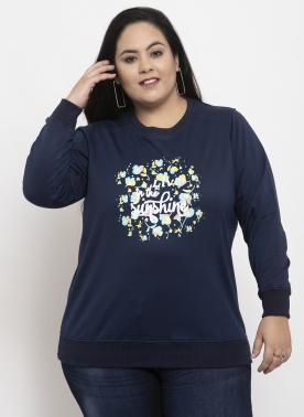 Women Blue & Off White Printed Sweatshirt