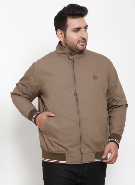 Men Khaki Solid Puffer Jacket