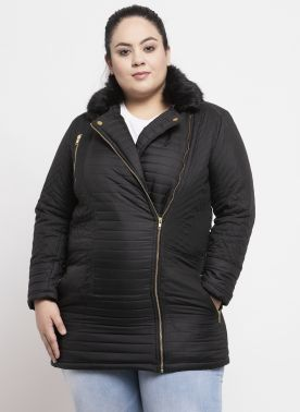 Women Black Solid Bomber Jacket