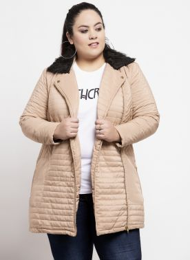 Women Beige Solid Bomber Jacket