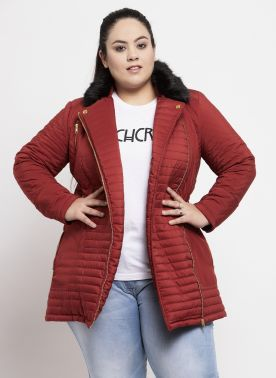 Women Maroon Solid Bomber Jacket