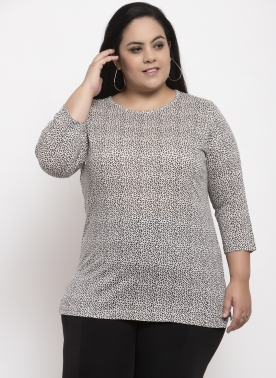 Women Grey & Off-White Printed Round Neck T-shirt