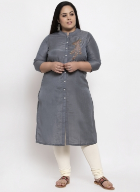 Women Grey Printed A-Line Kurta