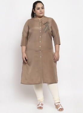 Women Brown Yoke Design A-Line Kurta