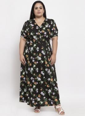 Women Black Printed Maxi Dress